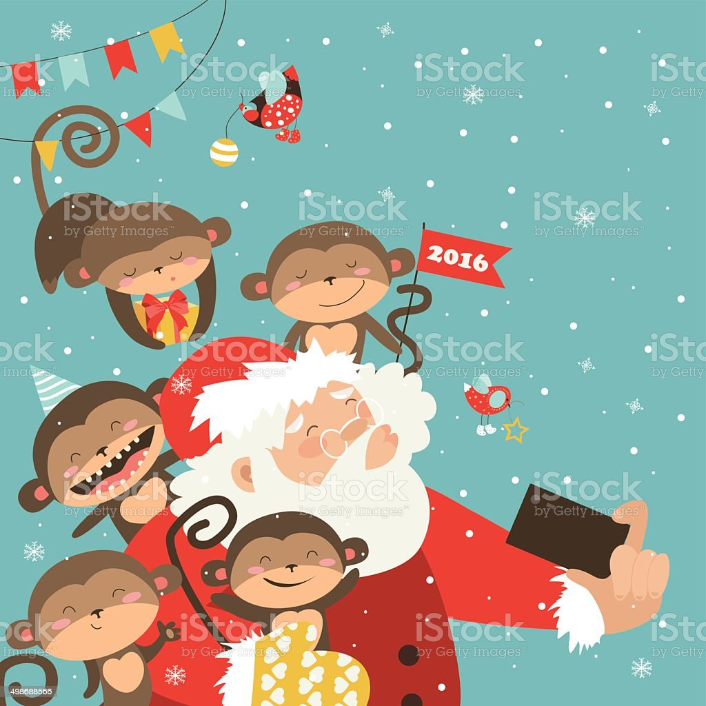 Santa and monkeys take a selfie vector art illustration