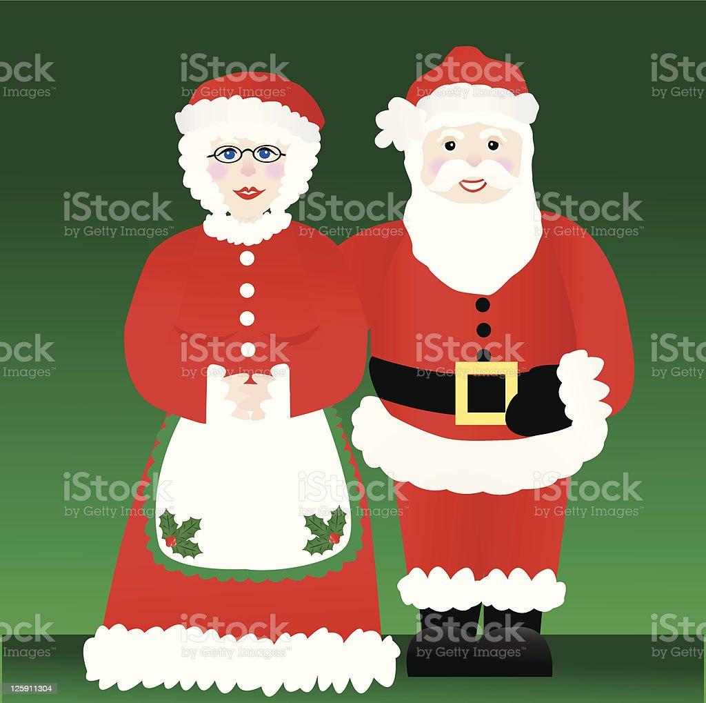 Santa and Mrs. Claus royalty-free stock vector art