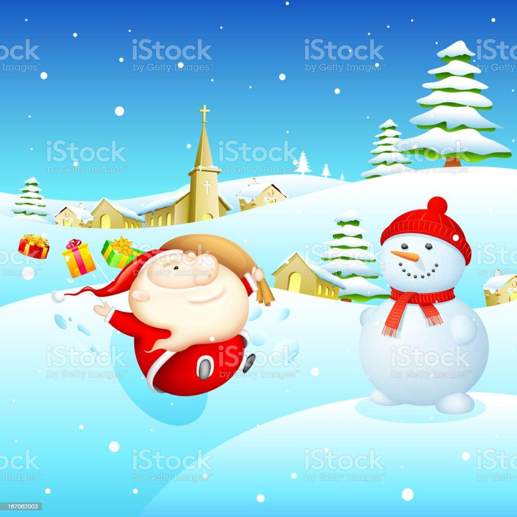 Santa and Snowman royalty-free stock vector art