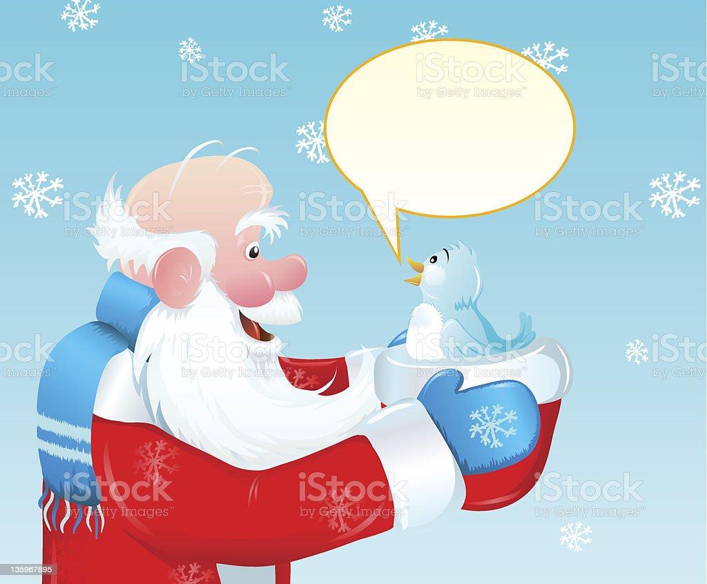 Santa and the blue bird royalty-free stock vector art