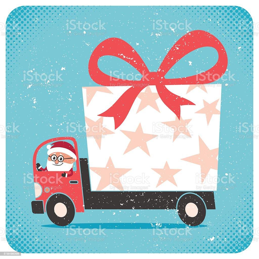 Santa Bringing Gift vector art illustration
