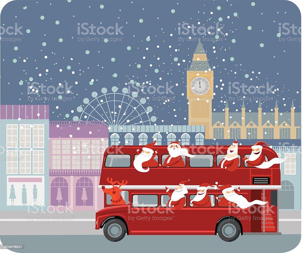 Santa bus vector art illustration