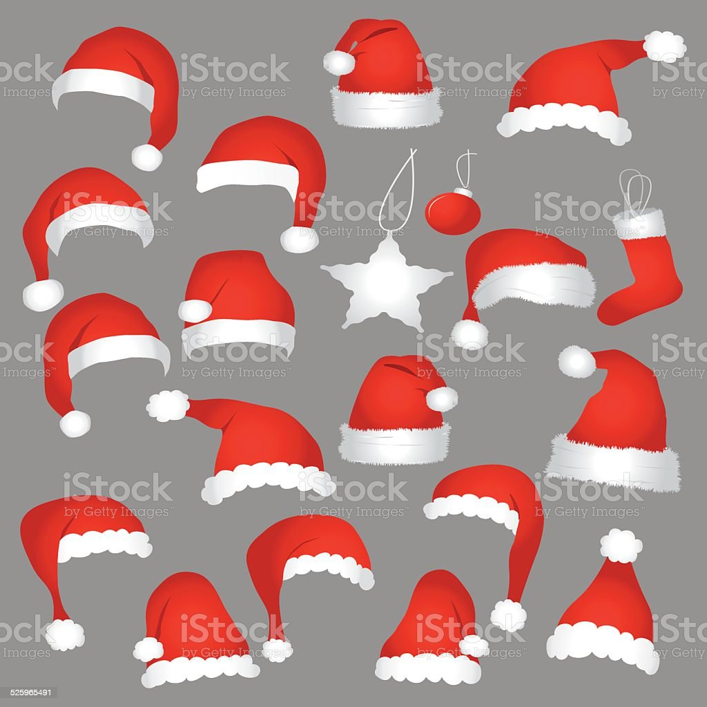 Santa caps and christmas decorations. vector art illustration