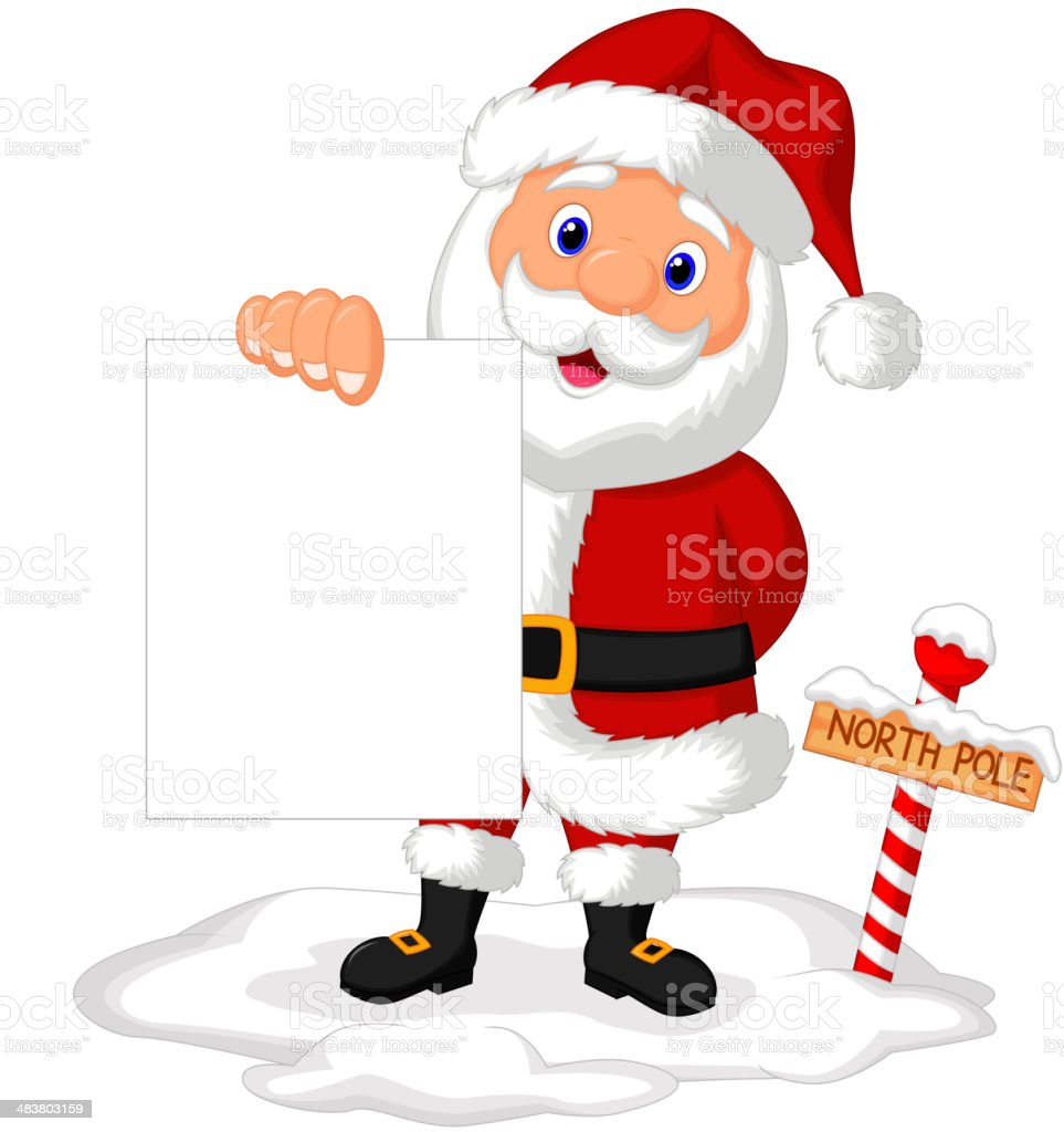 Santa cartoon holding blank paper royalty-free stock vector art