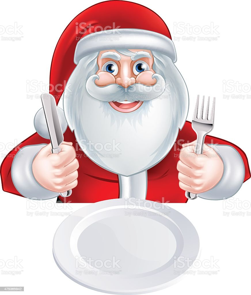 Santa Christmas Dinner Concept vector art illustration