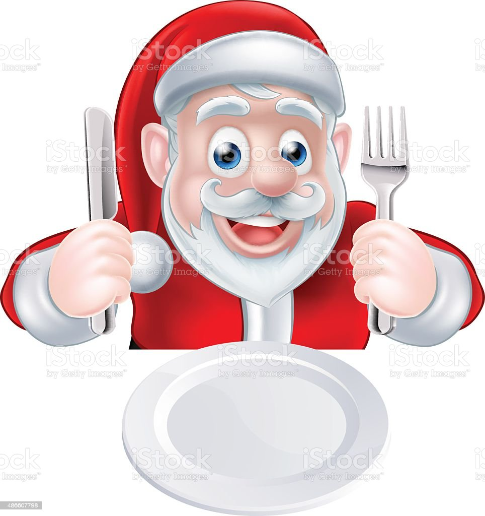 Santa Christmas Dinner vector art illustration