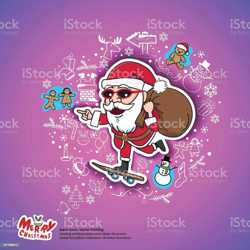 santa christmas gifts skateboard holiday vector art illustration