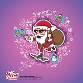 santa christmas gifts skateboard holiday