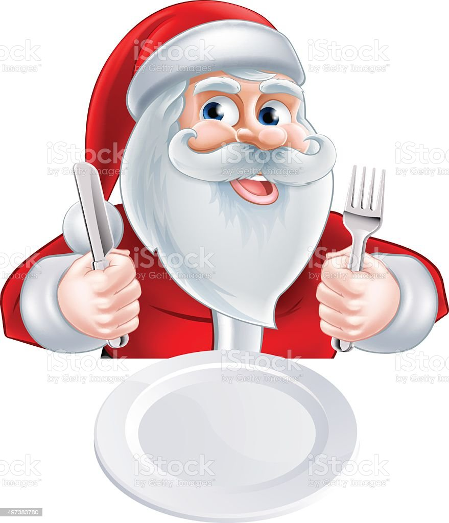 Santa Christmas Lunch Concept vector art illustration
