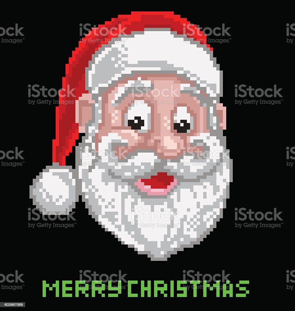 Santa Christmas Pixel Art vector art illustration