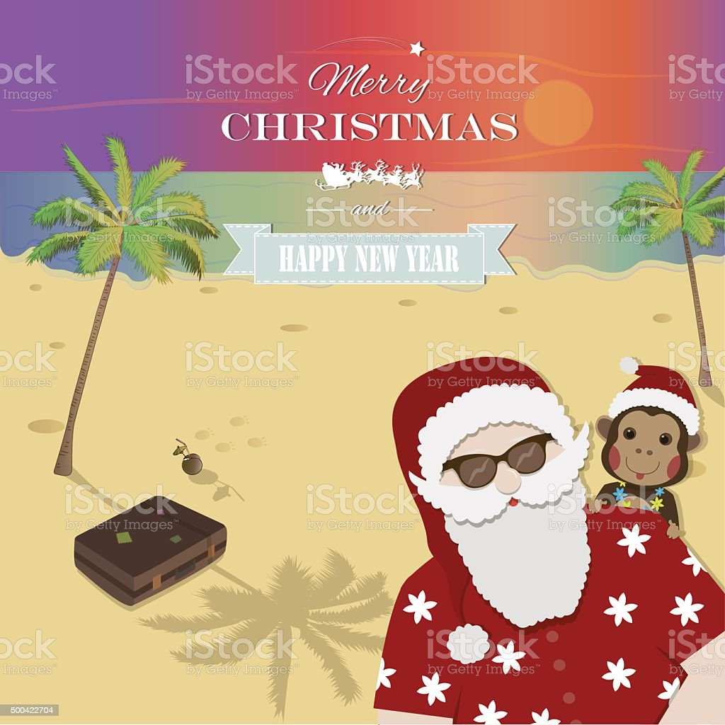 Santa Claus and Chinese Zodiac Monkey on tropical island. royalty-free stock vector art