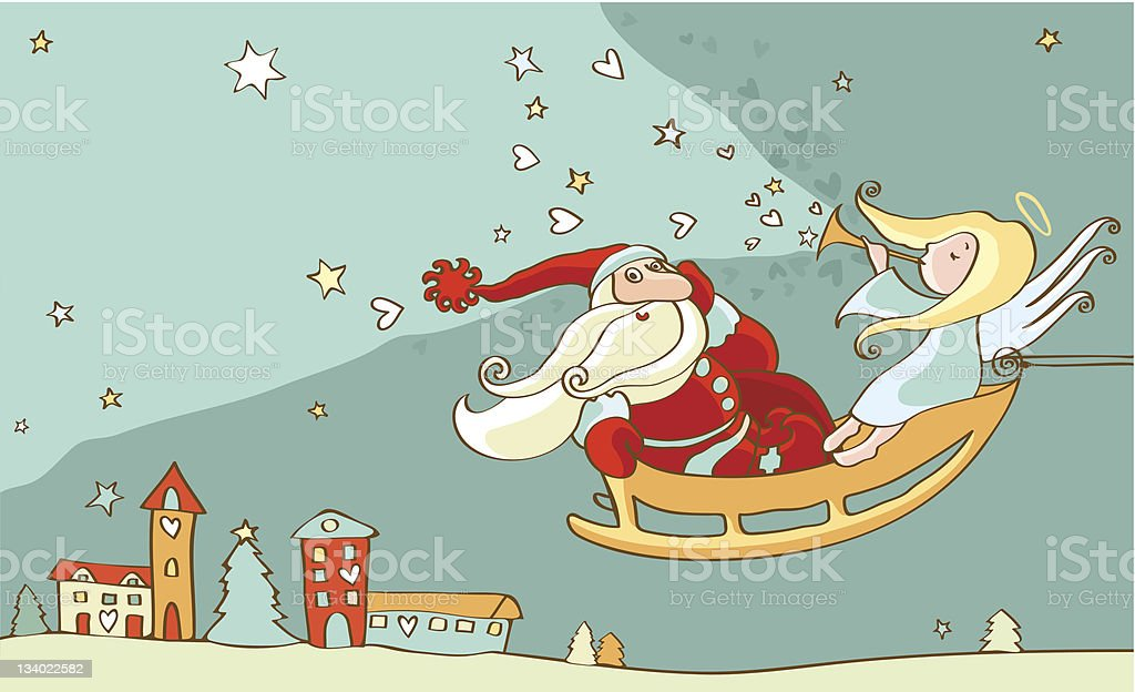 Santa Claus and christmas angel in sleigh. New year postcard royalty-free stock vector art