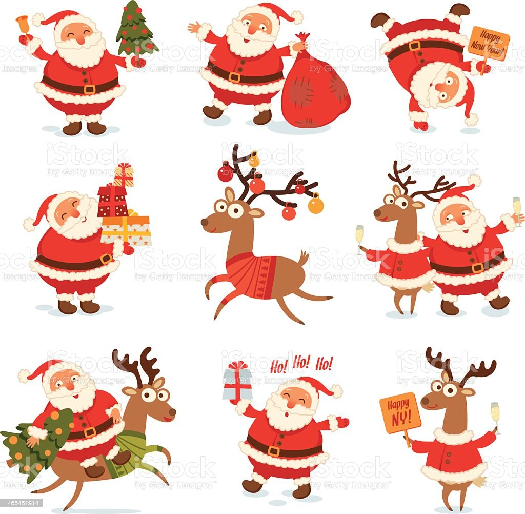 Santa Claus and Christmas reindeer. Funny cartoon character vector art illustration