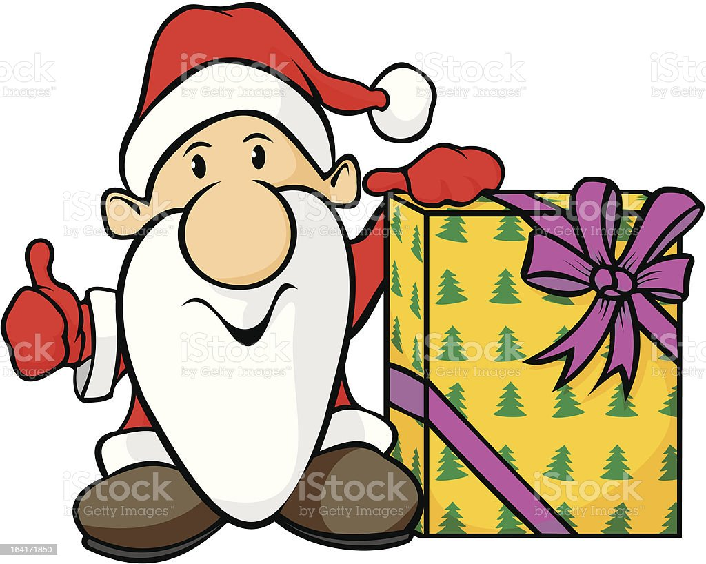 santa claus and gift royalty-free stock vector art