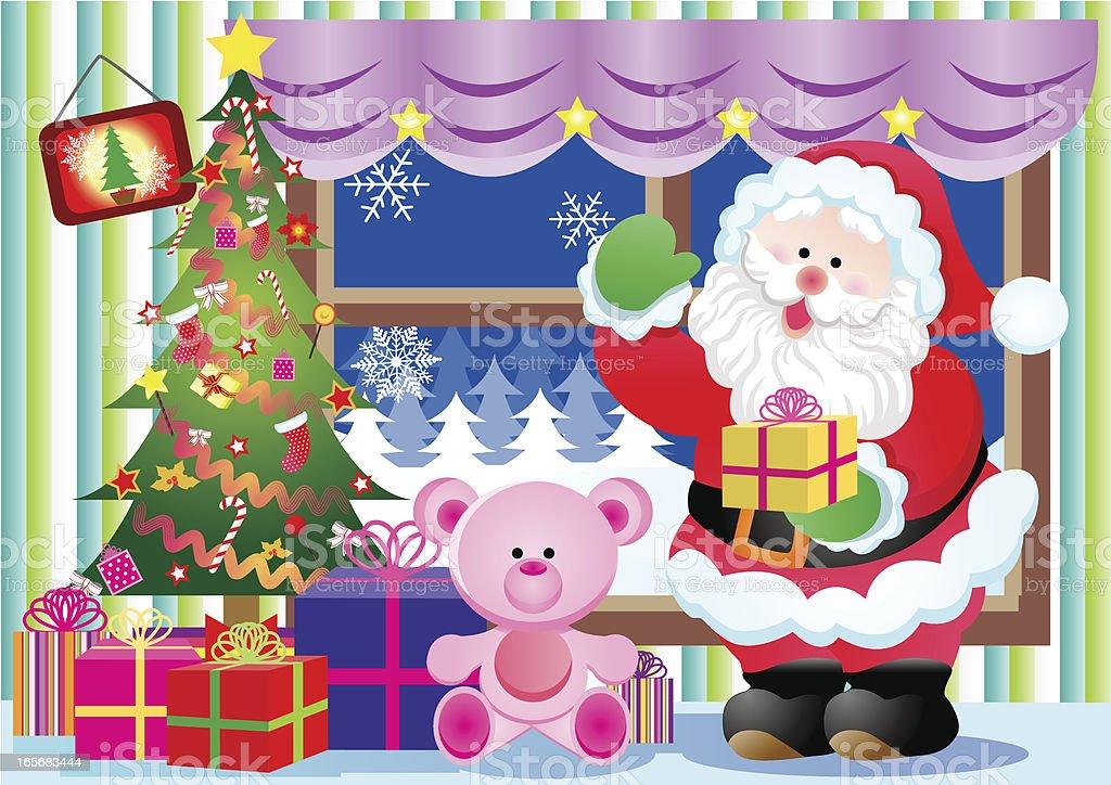 Santa Claus and gift royalty-free stock vector art