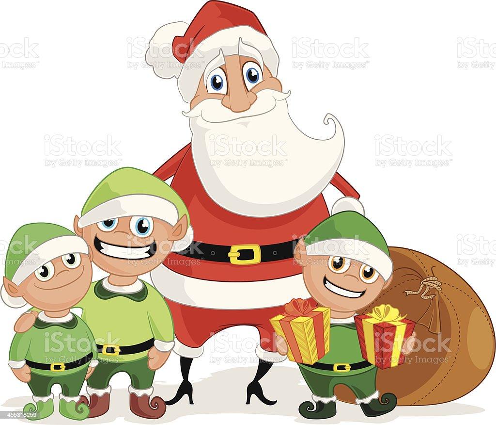 Santa Claus and his Elves vector art illustration