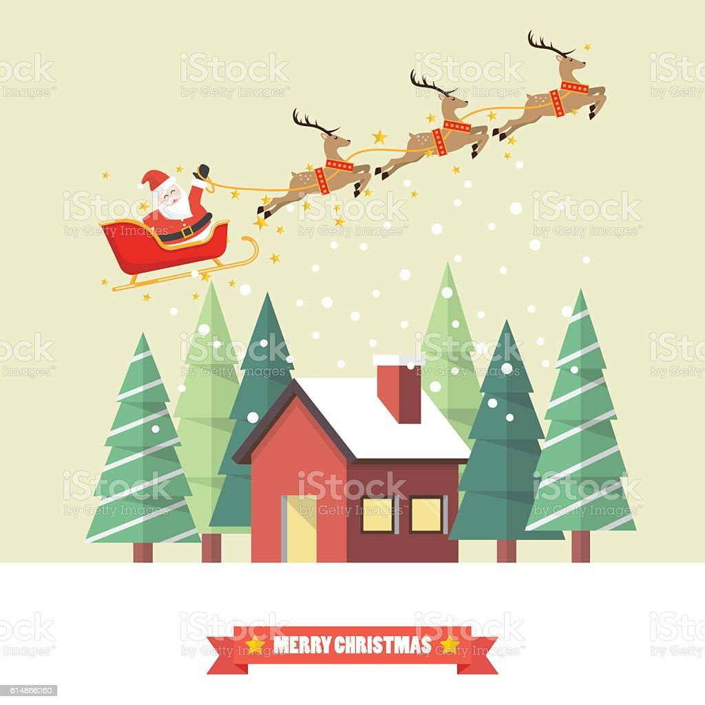 Santa Claus and his reindeer sleigh with winter house vector art illustration