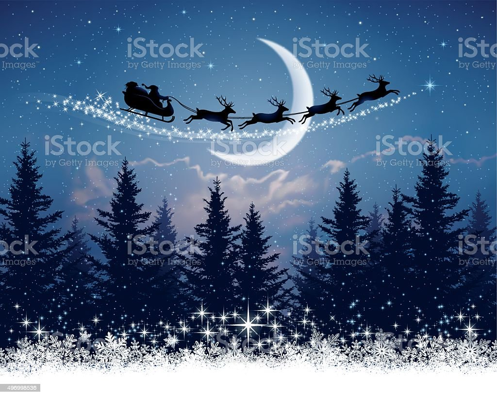Santa Claus and his sleigh on Christmas night vector art illustration