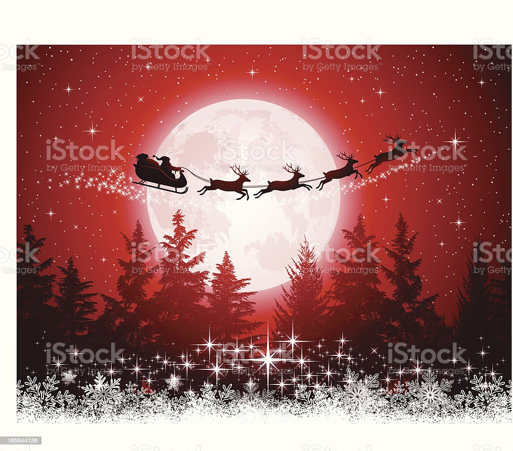 Santa Claus and his sleigh vector art illustration