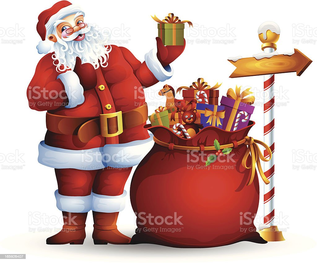 Santa Claus and sack with gifts vector art illustration