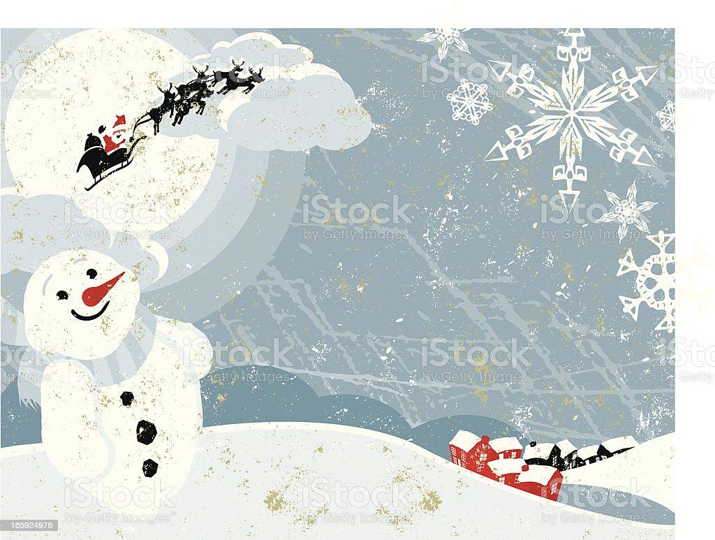 Santa Claus and Sleigh Flying over Christmas Village Horizontal Scene royalty-free stock vector art