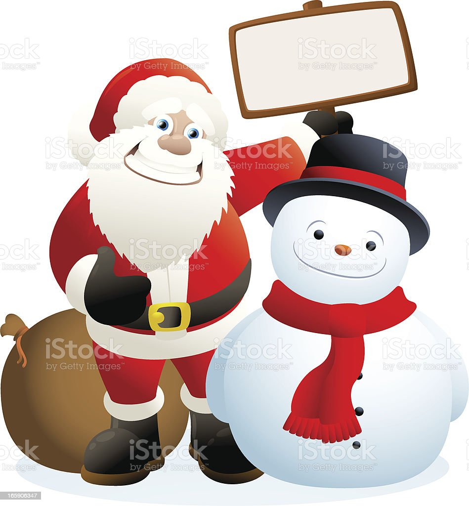 Santa Claus and snowman holding a blank sign royalty-free stock vector art