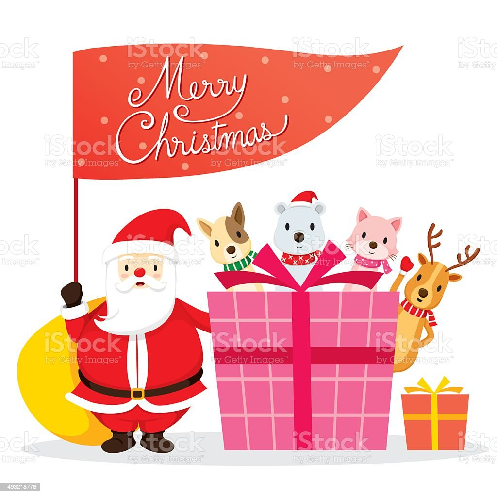 Santa Claus, Animals And Gift Box vector art illustration