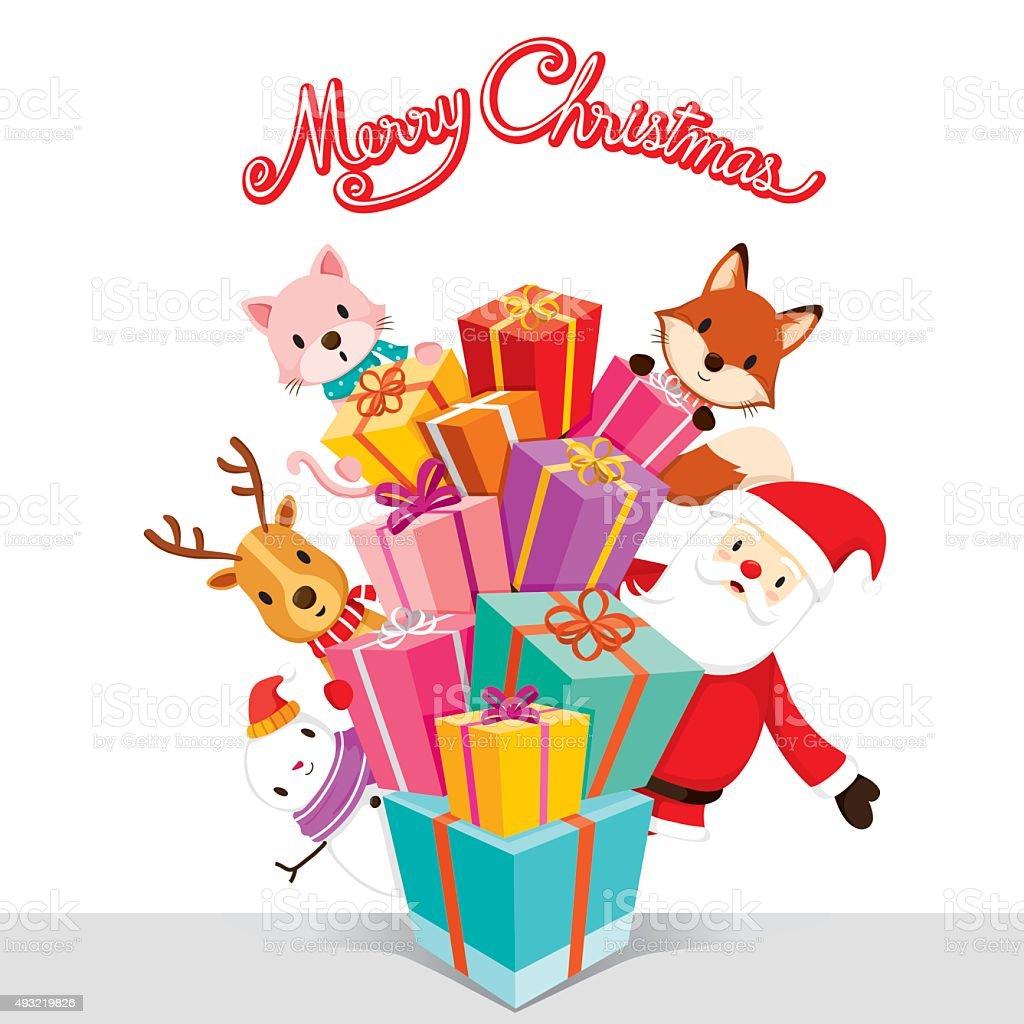 Santa Claus, Animals And Gift Boxes vector art illustration