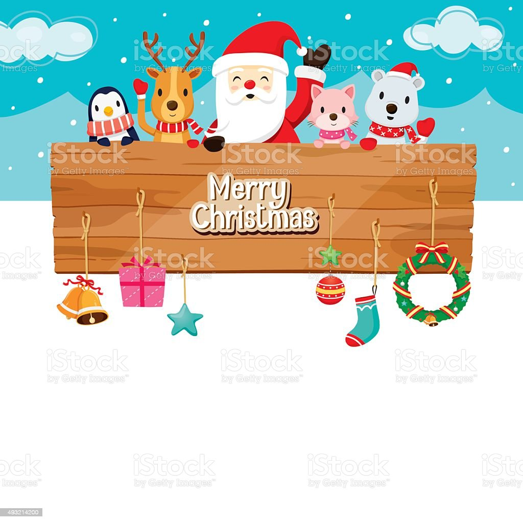 Santa Claus, Animals and Ornaments With Wood Banner vector art illustration