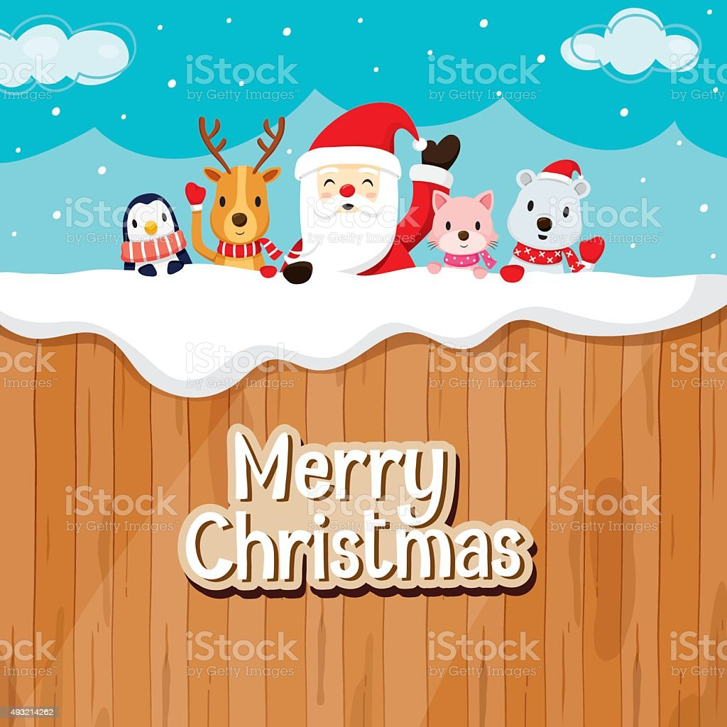 Santa Claus, Animals On Wood Fence vector art illustration