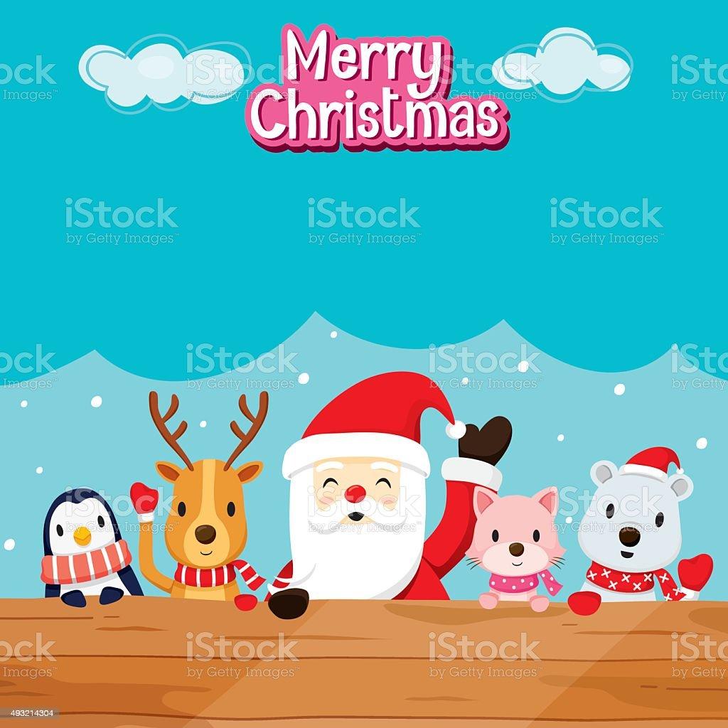 Santa Claus, Animals On Wood vector art illustration