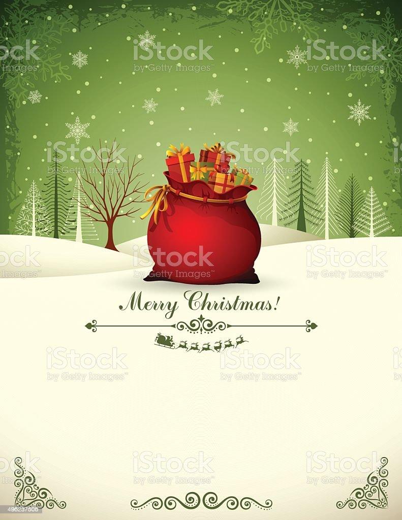 Santa Claus Bag vector art illustration