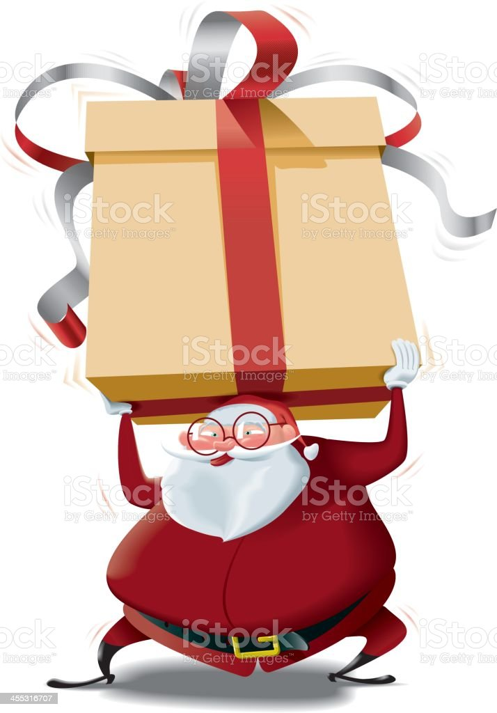 Santa Claus brings a HUGE GIFT for you royalty-free stock vector art