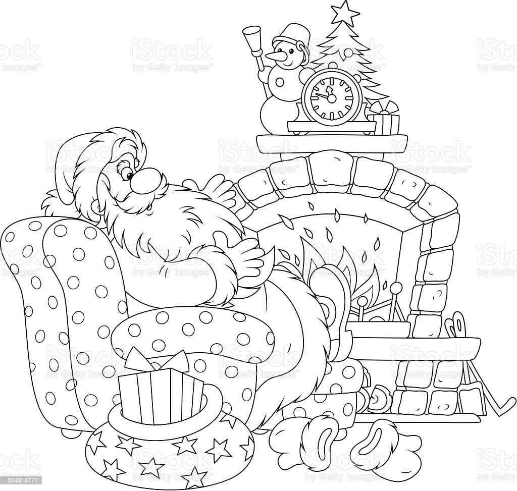 Santa Claus by a fireplace vector art illustration