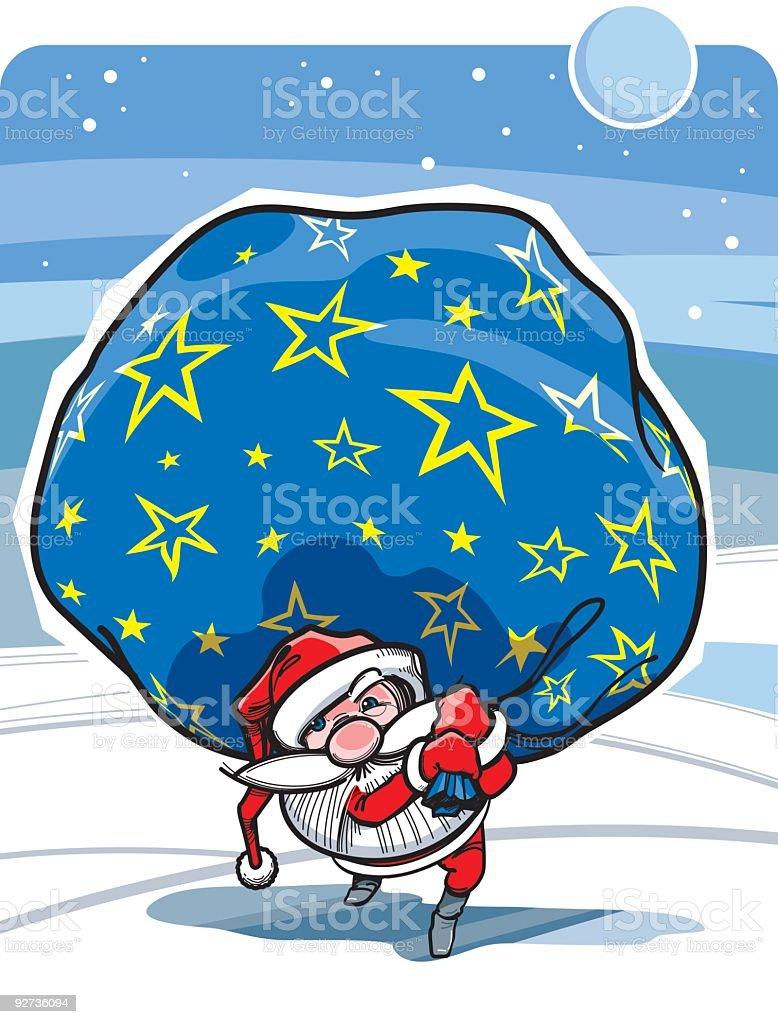 Santa Claus carry Presents royalty-free stock vector art