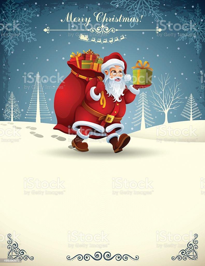 Santa Claus carrying his Bag vector art illustration