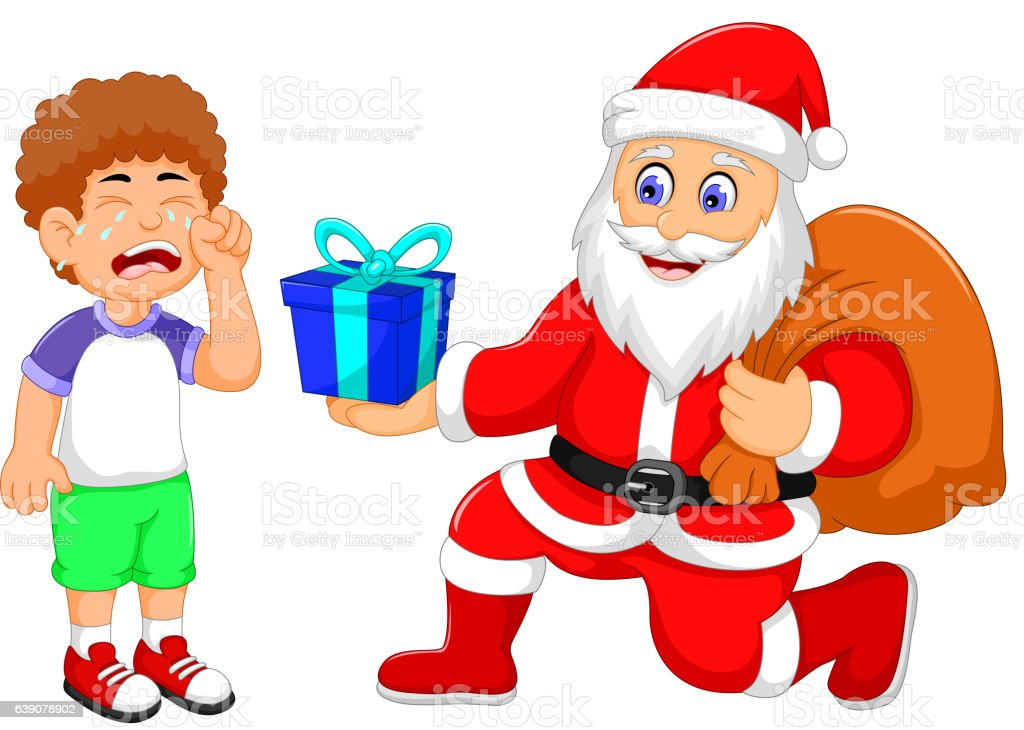 Santa Claus cartoon giving a gifts to little boy crying vector art illustration