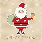 Santa Claus cartoon presenting something. Merry Christmas leather background.