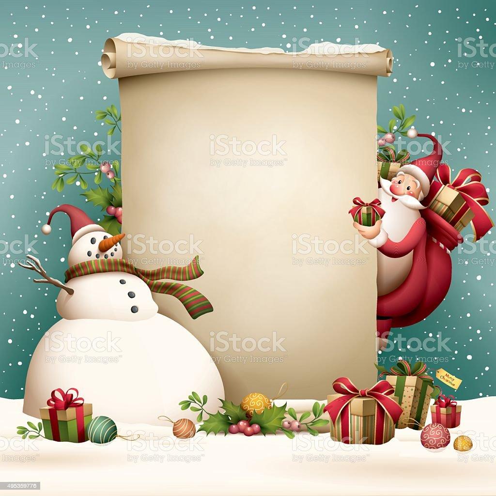 Santa Claus - christmas scroll vector art illustration