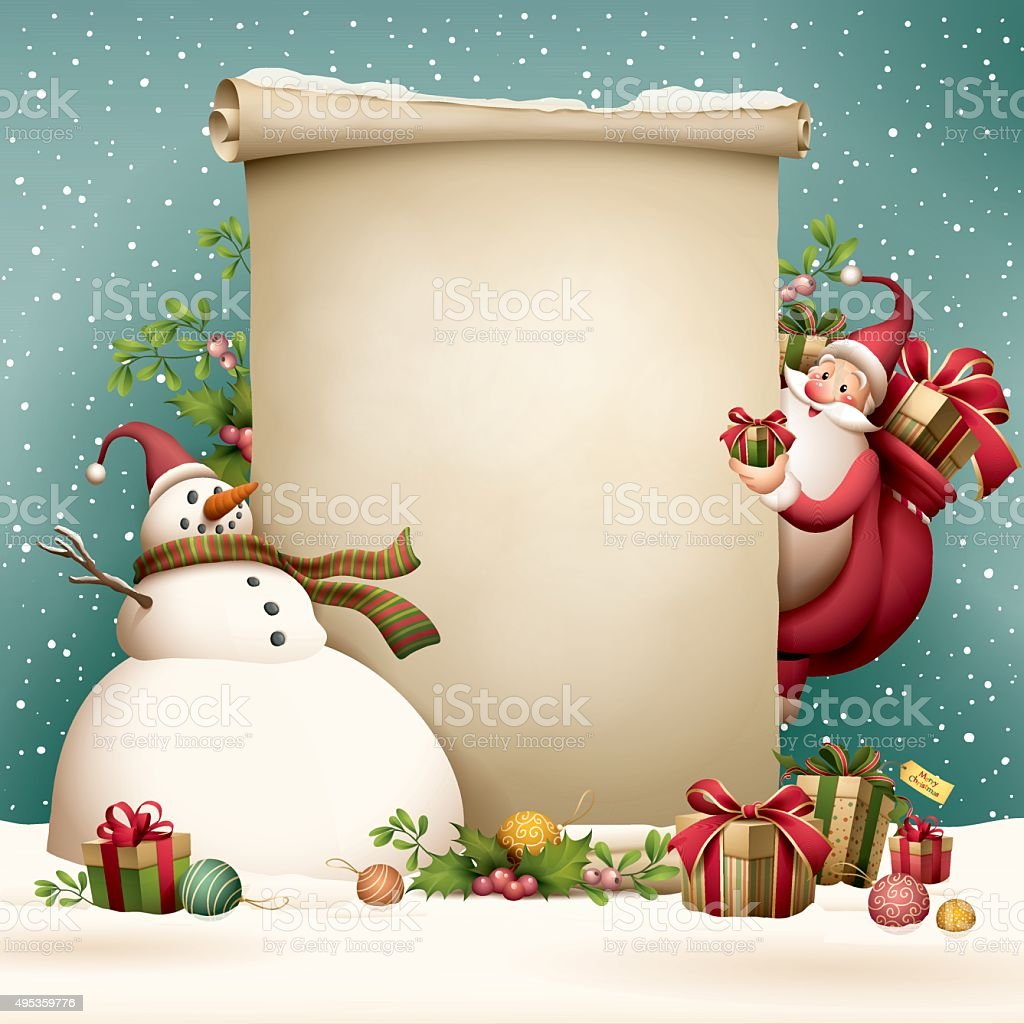 Santa Claus - christmas scroll vector art illustration