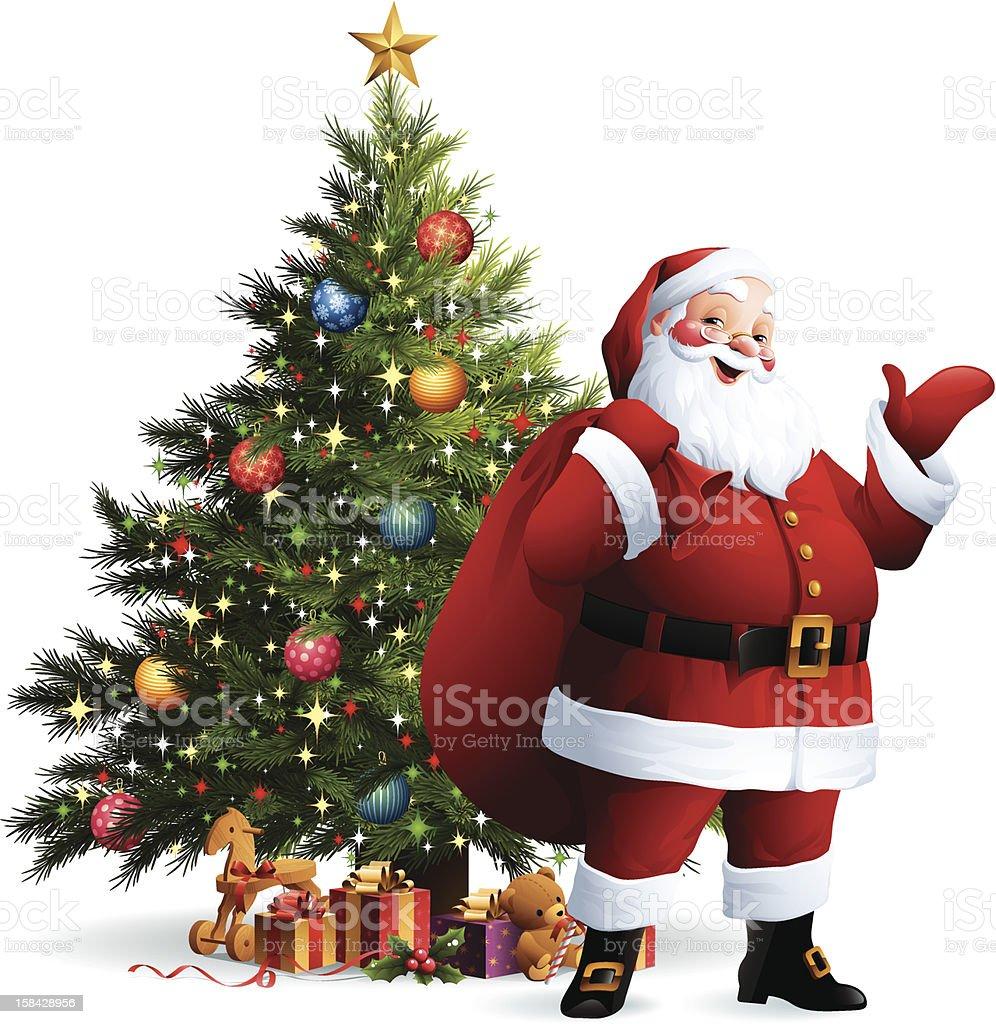 Santa Claus - Christmas Tree vector art illustration