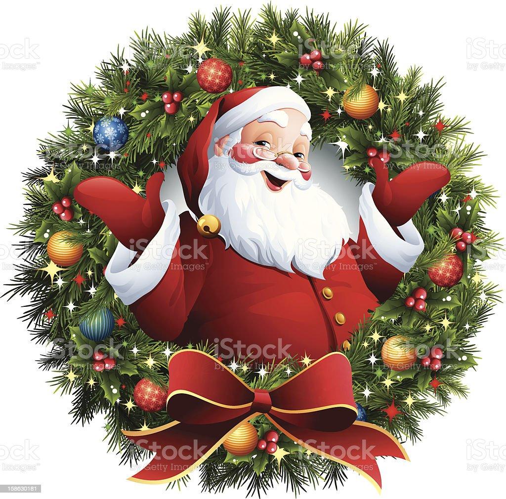 Santa Claus - Christmas Wreath vector art illustration