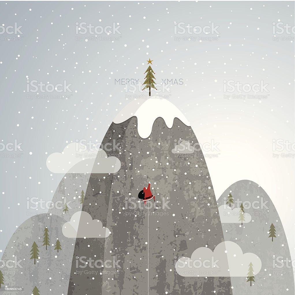Santa Claus climbing Christmas tree mountain rock snow vector royalty-free stock vector art