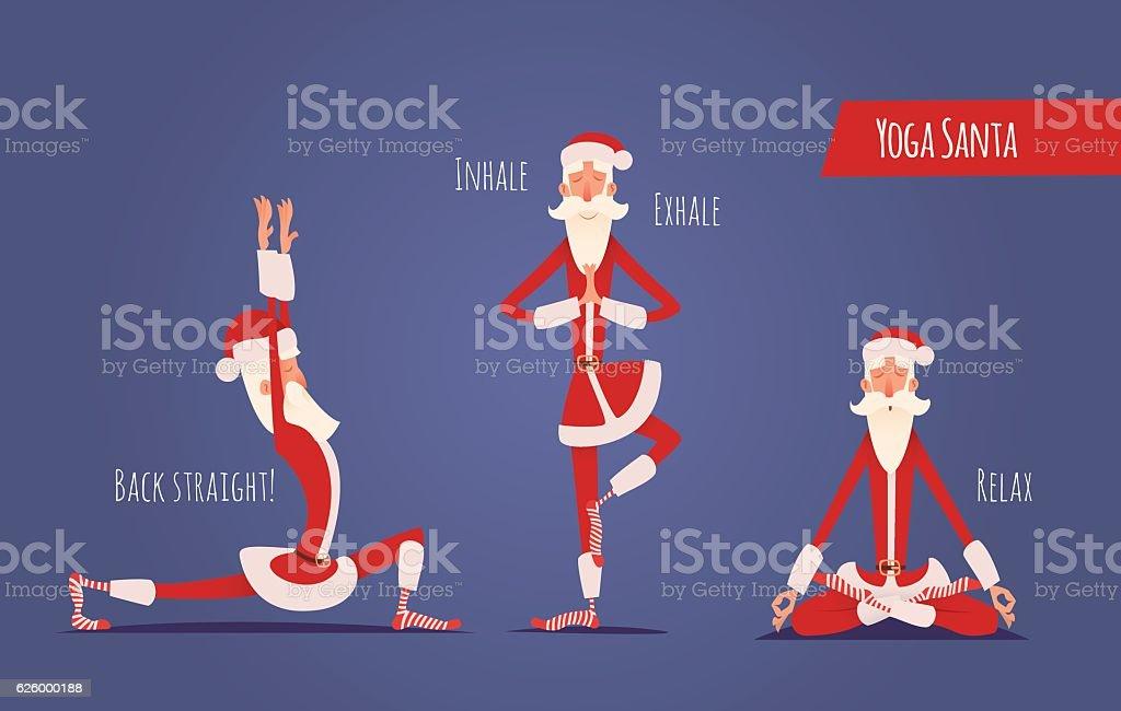Santa Claus Doing Yoga Set. Vector Xmas Illustration. 3 Poses. vector art illustration