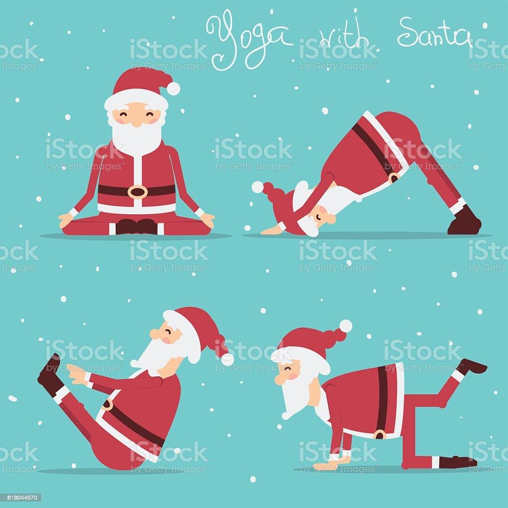 Santa Claus doing yoga.Vector holiday illustration vector art illustration