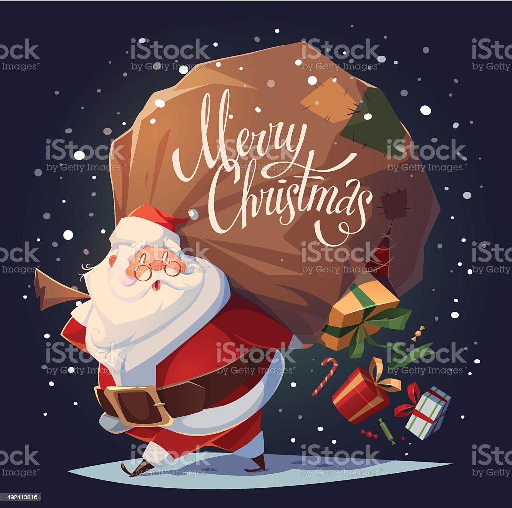 Santa Claus drops the gifts from the bag. vector art illustration