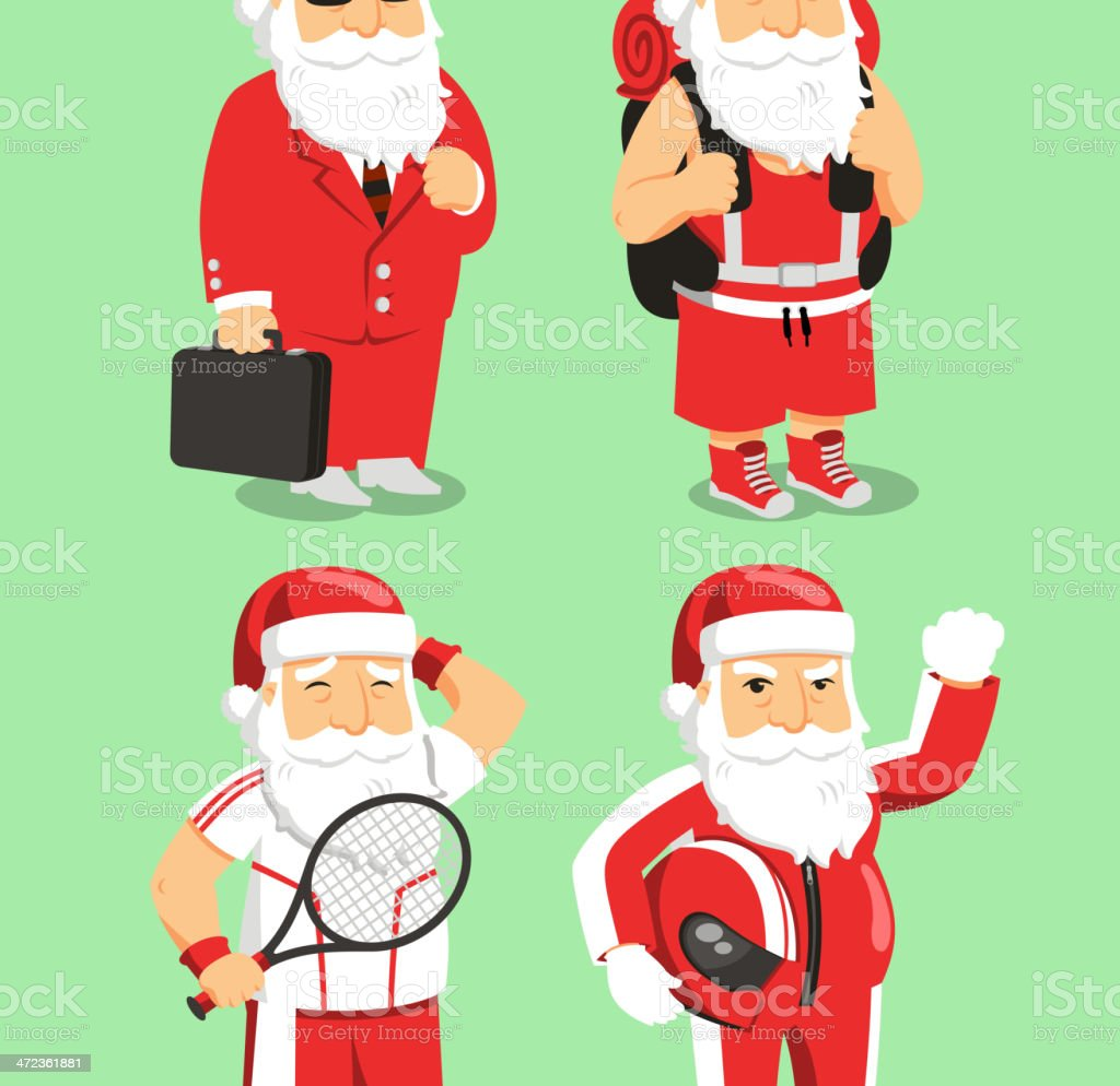 Santa Claus Father Christmas Office, Backpacker, tennis and motorcyclist vector art illustration
