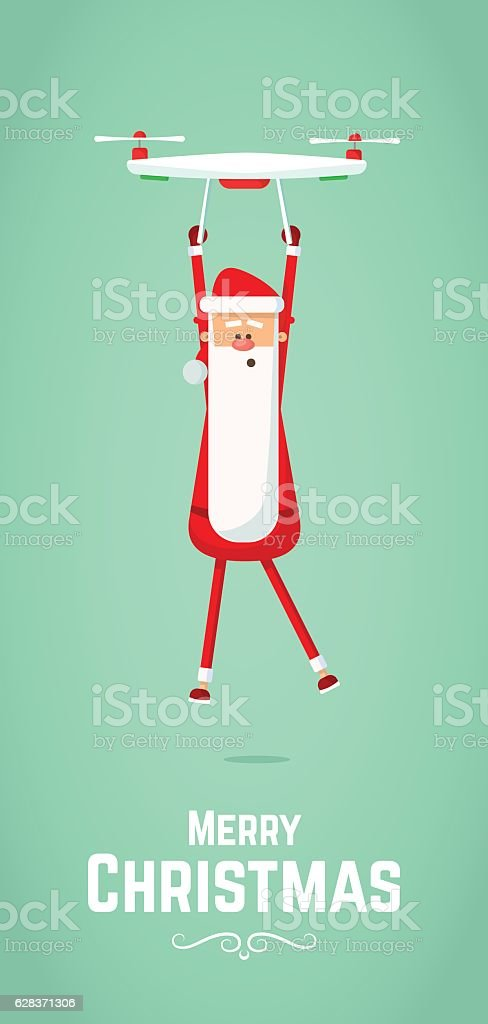 Santa Claus flies on drone. Flat Vector Illustration. vector art illustration
