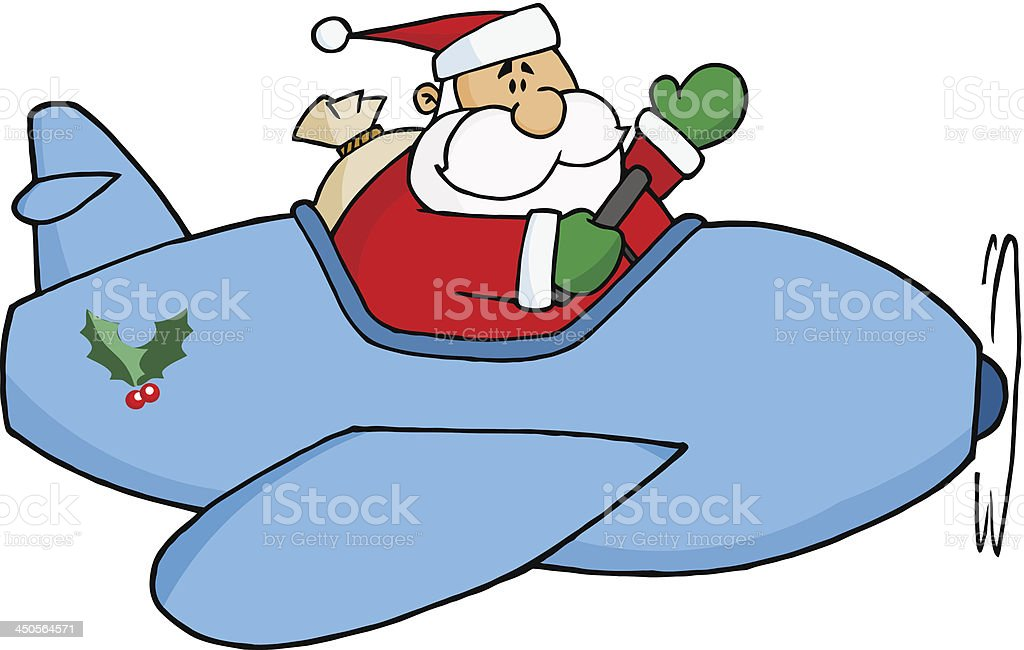 Santa Claus Flying His Plane royalty-free stock vector art