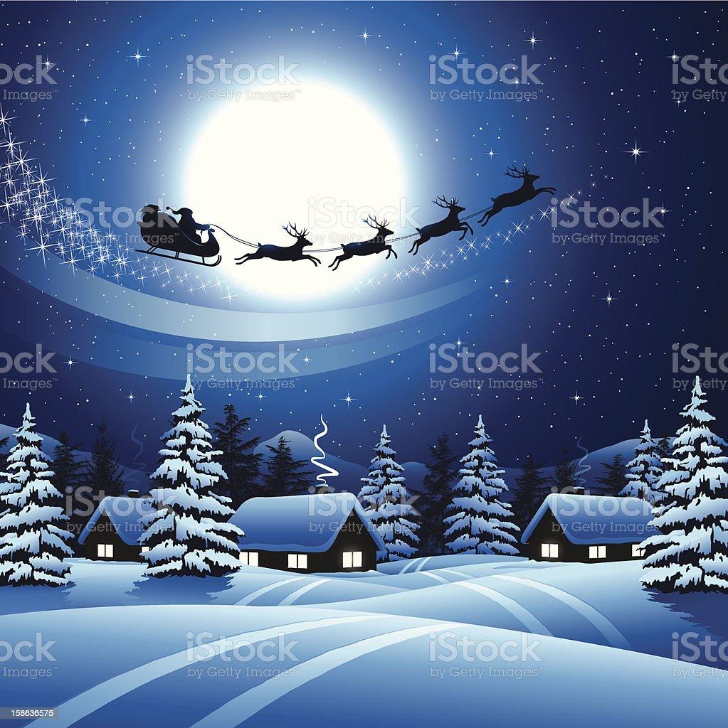 Santa Claus flying in the sky vector art illustration